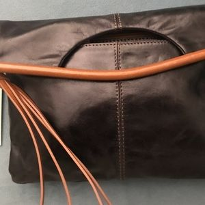 HOBO INTERNATIONAL Sydney Clutch Black with Brown